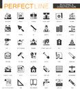 Black classic Building and construction tools web icons set. Home repair items.