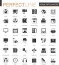 Black classic home appliances household web icons set.