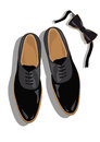 Black classic male shoes top view Royalty Free Stock Photo