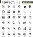 Black classic web Gardening icons set.