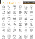 Black classic web Law and justice icons set.