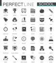 Black classic web School icons set.