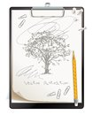 Black clipboard with a painted sketch tree drawing drawn in pencil top view vector illustration isolated on white background set Stock Images
