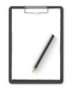 Black clipboard with pencil and blank sheets of paper isolated on white Stock Image