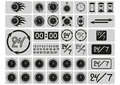 Black clocks icons in the gray squares arrows hours a day and days a week hand drawn digits signs set vector illustration Royalty Free Stock Photos