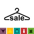 Black Clothes Hanger Icon on White Background