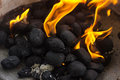 Black coal briquettes on fire Royalty Free Stock Photo