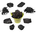 Black coal isolated on white Royalty Free Stock Photo
