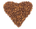 Black coffee beans as a heart Royalty Free Stock Image