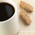 Black coffee with biscuits over the placemat Royalty Free Stock Photography