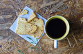 Black coffee with bread and for breakfast today Royalty Free Stock Photos