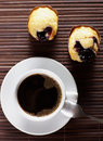 Black coffee with cake close up cup of witk sweet Royalty Free Stock Image