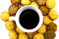 Black coffee with cookie isolated on white background Royalty Free Stock Image