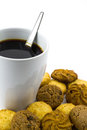 Black coffee with cookie isolated on white background Royalty Free Stock Photos