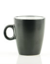 A black coffee cup on a white background with text space Royalty Free Stock Images