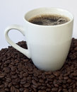 Black coffee in a cup of white mug Stock Images