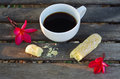 Black coffee with sugar and bread after breakfast Royalty Free Stock Photo