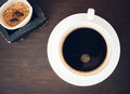 Black coffee with sugar in a cup vintage retro style color effect Royalty Free Stock Photos