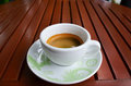 Black coffee on wooden table Royalty Free Stock Image