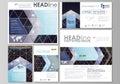 Black color geometric design, hexagonal geometry. Social media posts set. Business templates. Vector layouts in popular