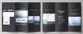 The black colored minimalistic vector illustration of the editable layout of two creative tri-fold brochure covers