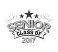 Black colored senior class of 2017 text sign with the stars vector illustration