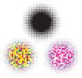 Black and colorful halftone elements Stock Photography