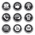 Black communication buttons Stock Photos