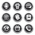 Black communication buttons Royalty Free Stock Images