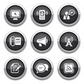 Black communication buttons Stock Images