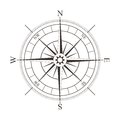 Black compass rose isolated on white Royalty Free Stock Photo