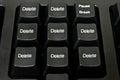 Black computer keyboard word delete Stock Photo