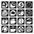 Black Computer, mobile phone and Internet icons