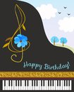 Black concert grand piano, treble clef in shape of cosmos flower, golden ribbon and spring landscape. Happy birthday greeting card