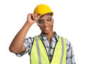 Black Construction Worker Holding Hardhat Portrait Stock Photos