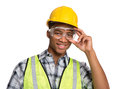 Black Construction Worker Holding Hardhat Portrait Royalty Free Stock Photo