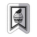 black contour silhouette sticker with cupcake with lemon slice in label Royalty Free Stock Photo