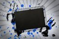 Black copy space with hand prints and paint splashes Royalty Free Stock Photo