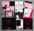Black corporate identity with a bright pink element.