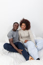 Black couple in love in the bed Royalty Free Stock Photo