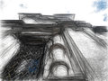 Black crayon/pencil drawing of orthodox cathedral.