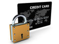 Black credit card lock white background concept credit card security online otherwise prevent credit card fraud theft unauthorized Royalty Free Stock Image