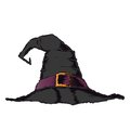 Black creepy witch hat with violet belt isolated on a white background color line art halloween retro design vector illustration Stock Photography