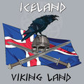 Black crow sitting on a Viking helmet, crossed swords on the background of the Icelandic banner Royalty Free Stock Photo