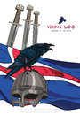 Black crow sitting on a Viking helmet, three swords on the background of the Icelandic banner Royalty Free Stock Photo