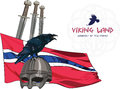 Black crow sitting on a Viking helmet, three swords on the background of the Norwegian banner Royalty Free Stock Photo