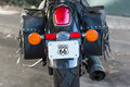 Black cruiser details of motorcycle rear view Stock Images