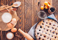 Black currant and apricot pie with ingredients Royalty Free Stock Photo