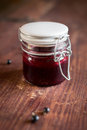 Black currant, blackberry and raspberry jam Royalty Free Stock Photo