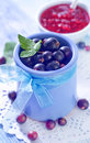 Black currant in blue bowl Royalty Free Stock Images
